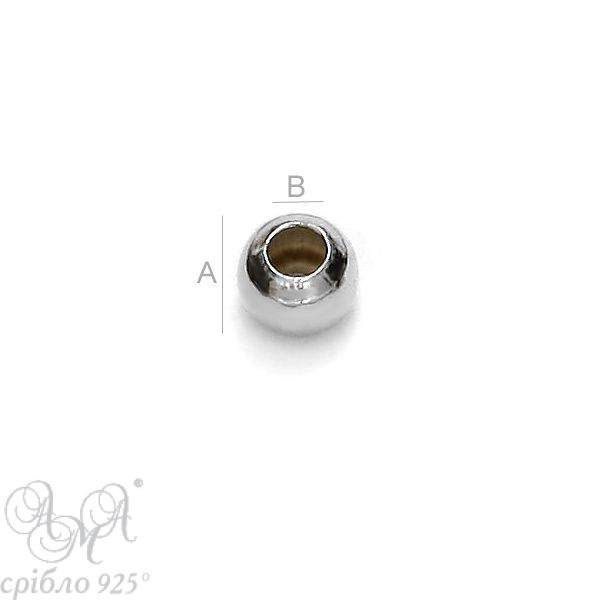 Кулька (Ш 2,2 мм отвір 1.0мм) срібло 925 проби