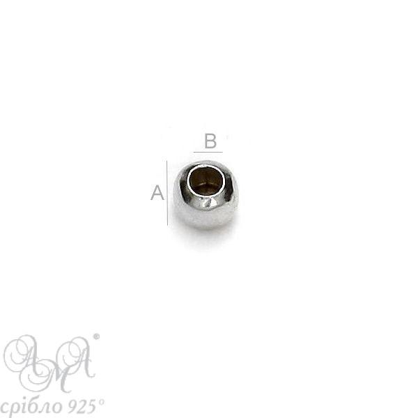 Кулька (Ш 1,8 мм отвір 0.9мм) срібло 925 проби